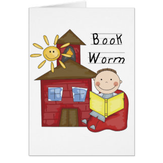 Boy Book Worm Tshirts and Gifts Card