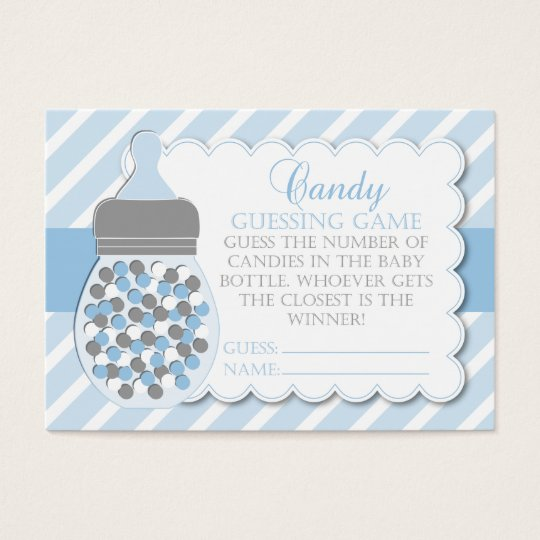 boy bottle baby shower guessing business card zazzle