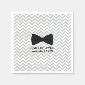 Boy Bow Tie Chevron Stripes Baby Shower Paper Napkin