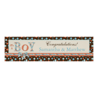 BOY Brown Blue Orange Dots Baby Shower Banner Posters