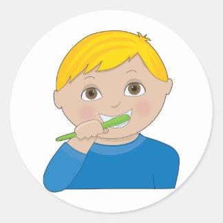 Boy Brushing Teeth Classic Round Sticker