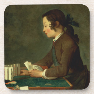 Boy Building a Castle of Cards (oil on canvas) Drink Coaster