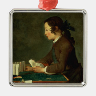 Boy Building a Castle of Cards (oil on canvas) Metal Ornament