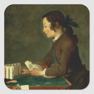 Boy Building a Castle of Cards (oil on canvas) Square Sticker