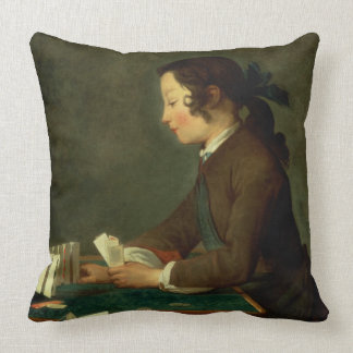 Boy Building a Castle of Cards (oil on canvas) Throw Pillow