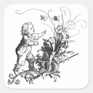 Boy, Butterflies, Hobby Horse and Capital W Sticker