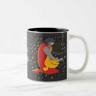 Boy Caring a Duck Two-Tone Coffee Mug