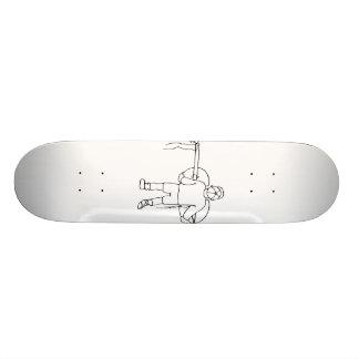 Boy Carrying Broken Upright Bass Back View Skateboard