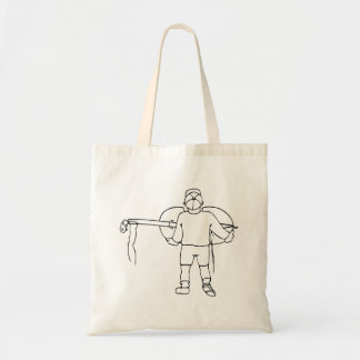 Boy Carrying Broken Upright Bass Back View Tote Bag