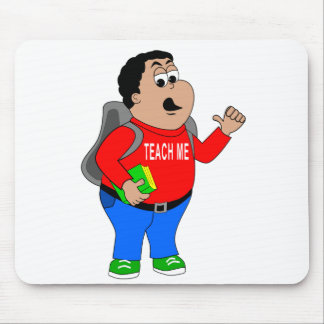 boy cartoon holding book with backpack mouse pad