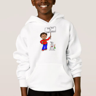 boy cartoon holding sign no vegetables rabbit hoodie
