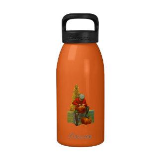 boy carving pumpkin water bottle