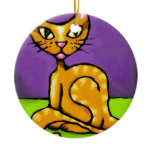 boy cat ceramic ornament