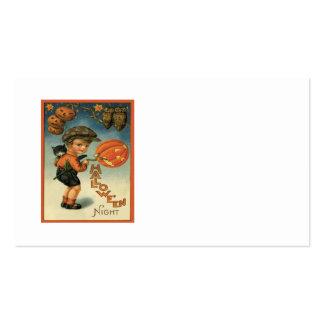 Boy Cat Jack O' Lantern Owl Stars Business Card