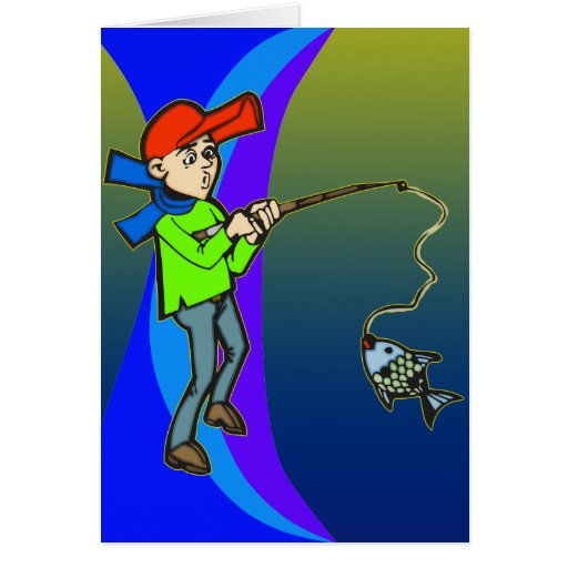 Boy Catching A Fish Card