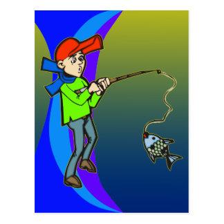 Boy Catching A Fish Postcard