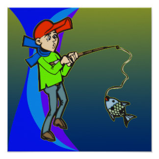 Boy Catching A Fish Poster