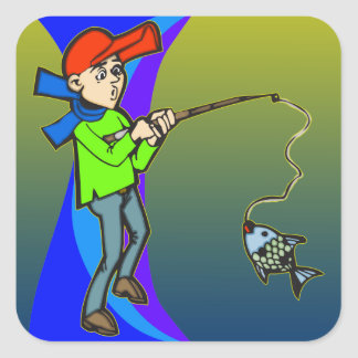 Boy Catching A Fish Square Sticker