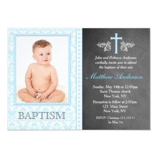 Boy Chalkboard Photo Baptism Invitations