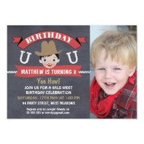 Boy Chalkboard Western Cowboy Birthday Invitation