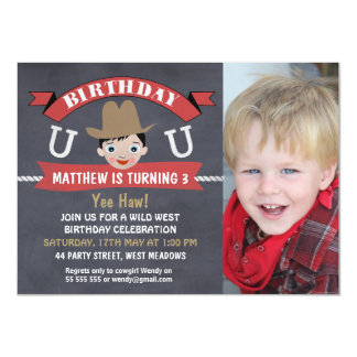 Boy Chalkboard Western Cowboy Birthday Invitation