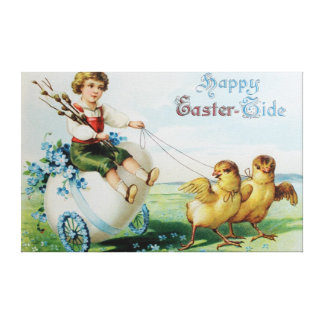 Boy Chariot Forget Me Not Easter Chick Canvas Print