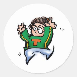 Boy Cheerleading Classic Round Sticker