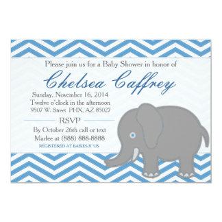 Boy Chevron Elephant Stitch Baby Shower Invitation