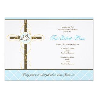 "Boy Christening/Baptism Invitation 5"" X 7"" Invitation Card"