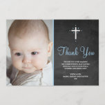 "Boy Christening/Baptism Thank You Card<br><div class=""desc"">Thank your friends and family for coming to your little ones baptism or christening. Matching invitation available. Girl version also available in this style.</div>"