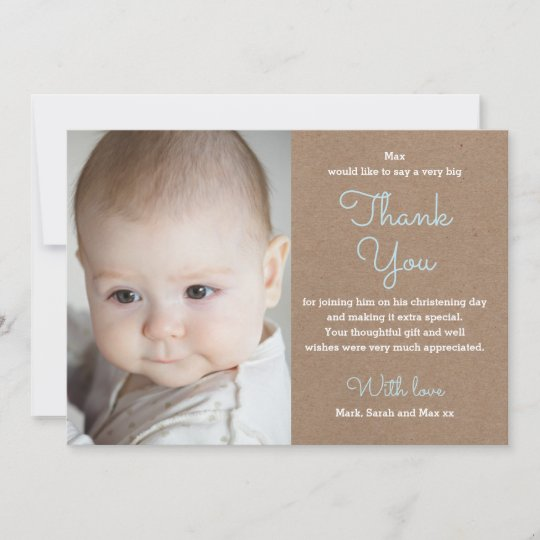 Boy Christening Baptism Thank You Card Zazzle Com
