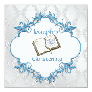 BOY CHRISTENING WHITE & BLUE Damask Design Card
