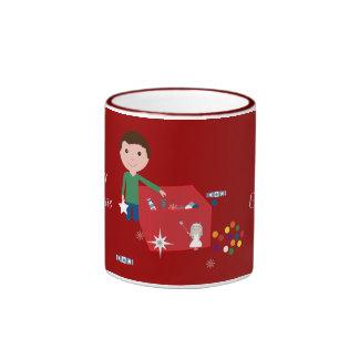 Boy & Christmas Decoration Box Red Ringer Mug