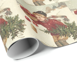 Boy Christmas Tree Presents Cottage Snow Wrapping Paper