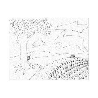 Boy Cloud Gazing in Park Outline Coloring Canvas Canvas Print