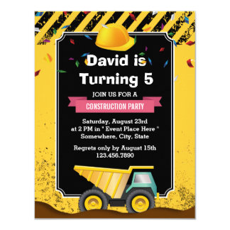 Boy Construction Dump Truck Birthday Party Card