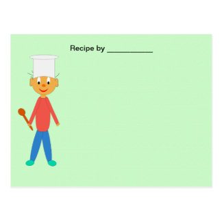 Boy Cook on Green Textured Recipe Blank Card