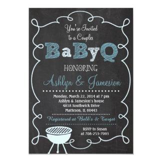 "Boy Couples BabyQ BBQ Baby Shower Invitation 5"" X 7"" Invitation Card"