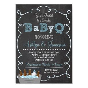 Beautiful Boy Couples BabyQ BBQ Baby Shower Invitation