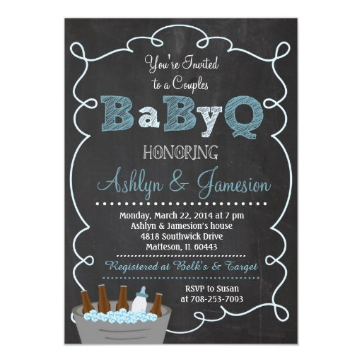 "Boy Couples BabyQ BBQ Baby Shower Invitation 5"" X 7"" Invitation Card (front side)"