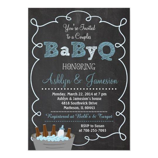 boy couples babyq bbq baby shower invitation | zazzle, Baby shower invitations