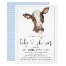 Boy Cow Farm Baby Shower Invitations