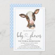Boy Cow Farm Baby Shower Invitations