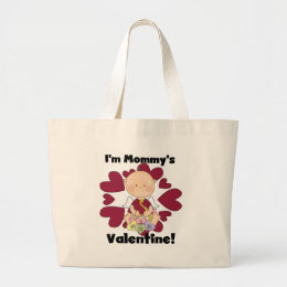 Boy Cupid Mommy's Valentine Tshirts Large Tote Bag