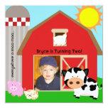 "Boy Custom Photo Farm Birthday Invitations 5.25"" Square Invitation Card"