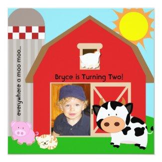 Boy Custom Photo Farm Birthday Invitations