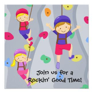 "Boy Custom Photo Rock Wall Birthday Invitation 5.25"" Square Invitation Card"