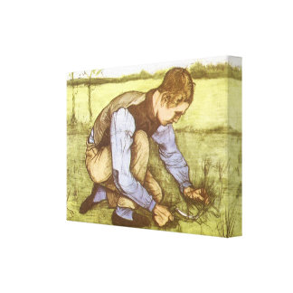 Boy Cutting Grass with Sickle by Vincent van Gogh Canvas Print