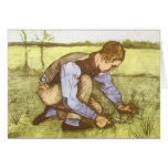 Boy Cutting Grass with Sickle by Vincent van Gogh Cards