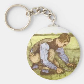 Boy Cutting Grass with Sickle by Vincent van Gogh Key Chains